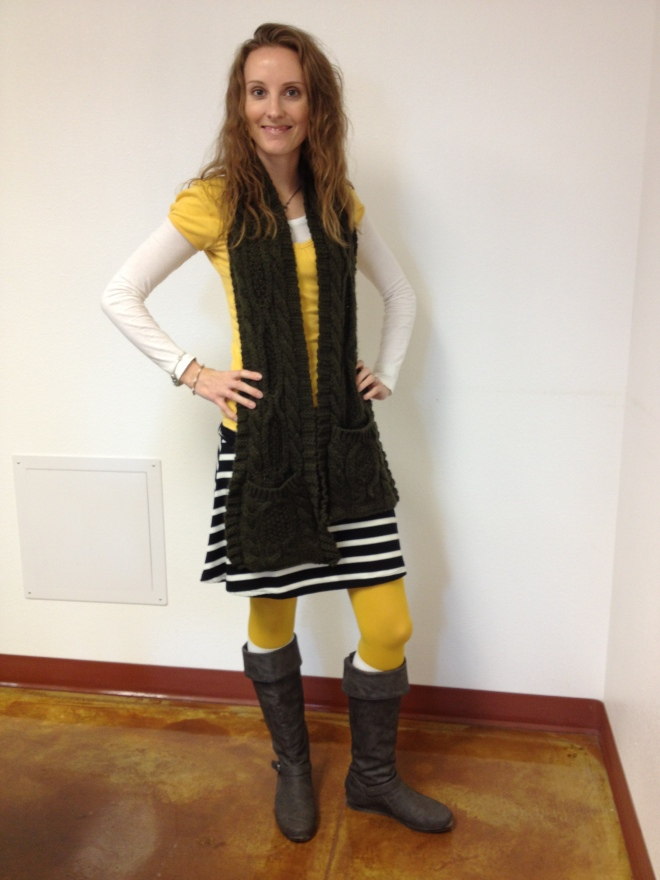 Mustard, olive, and stripes.  Oh and boots.  Because otherwise that combination would be ridiculous.