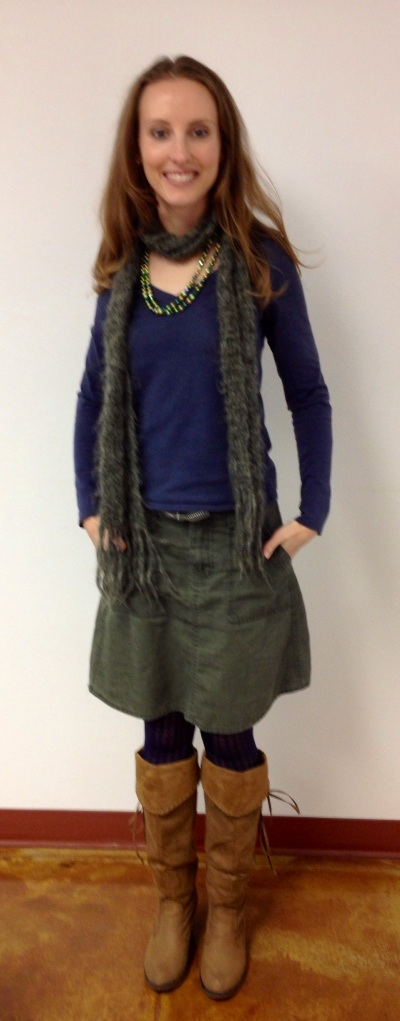 Blue long-sleeve shirt, green linen skirtAccessories:  ultra soft fuzzy scarf, blue houndstooth tights, Rocketdog boots