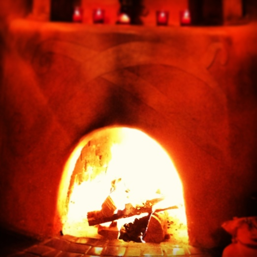 Roaring fire at the Pink Adobe.