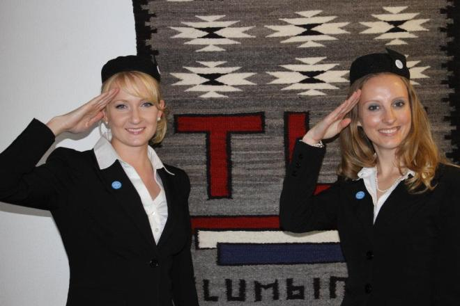 Halloween 2011:  Flying high (haha - pun intended) on the Pan Am craze, we opted to be flight attendants.